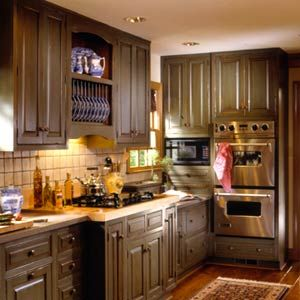 Olive Green Kitchen Cabinets, Like This Color Too. May Be To Dark For My