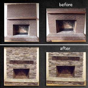 Fireplace Remodel Stone Over Brick Google Search