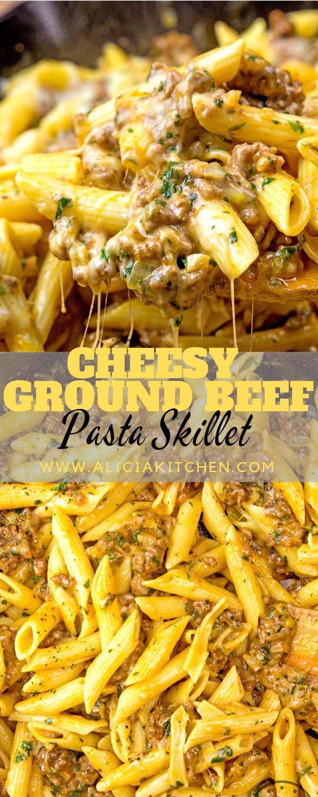 CHEESY GROUND BEEF PASTA SKILLET - Update Recipes #groundbeefrecipesfordinner
