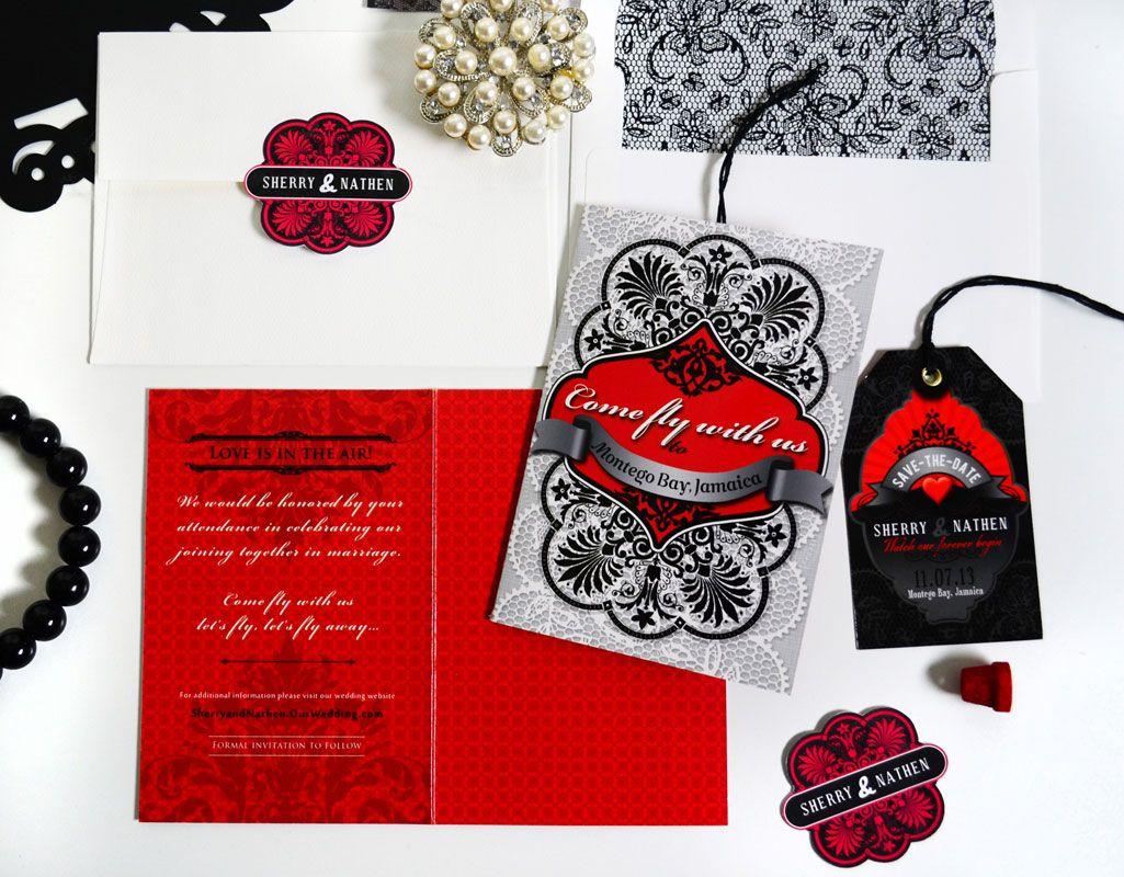April Twenty Five - The Cheri Black Lace Luggage Tag Magnet Save the ...