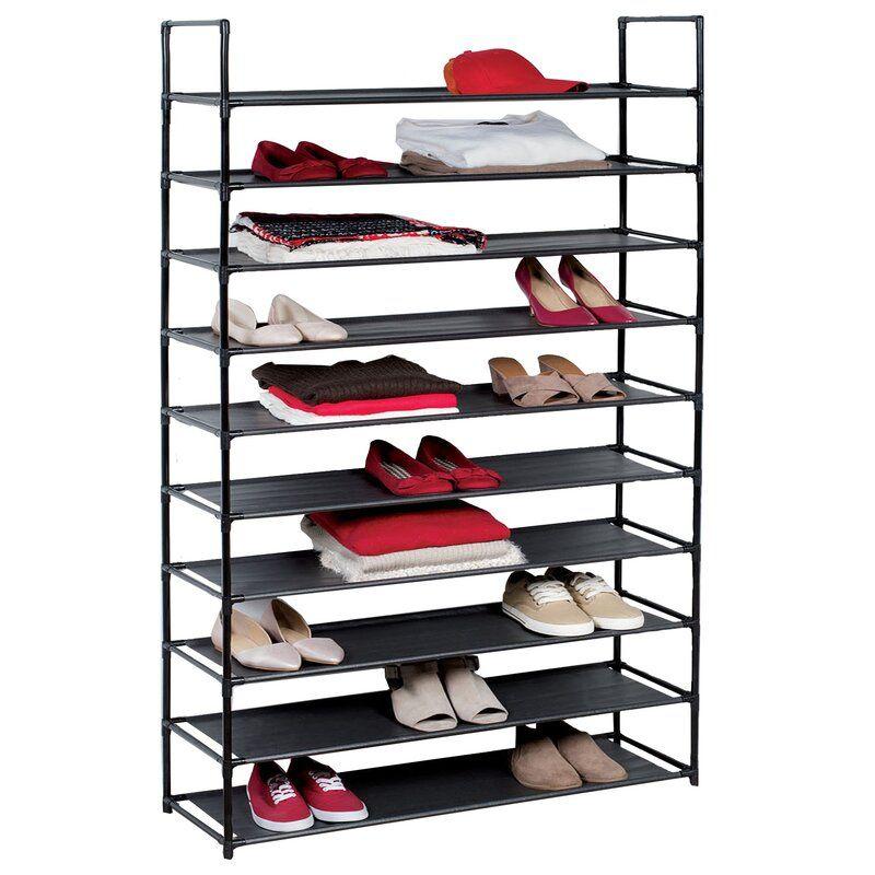 10 Tier Plastic 50 Pair Stackable Shoe Rack Plastic Shoe Rack Storage Closet Organization Shoe Rack