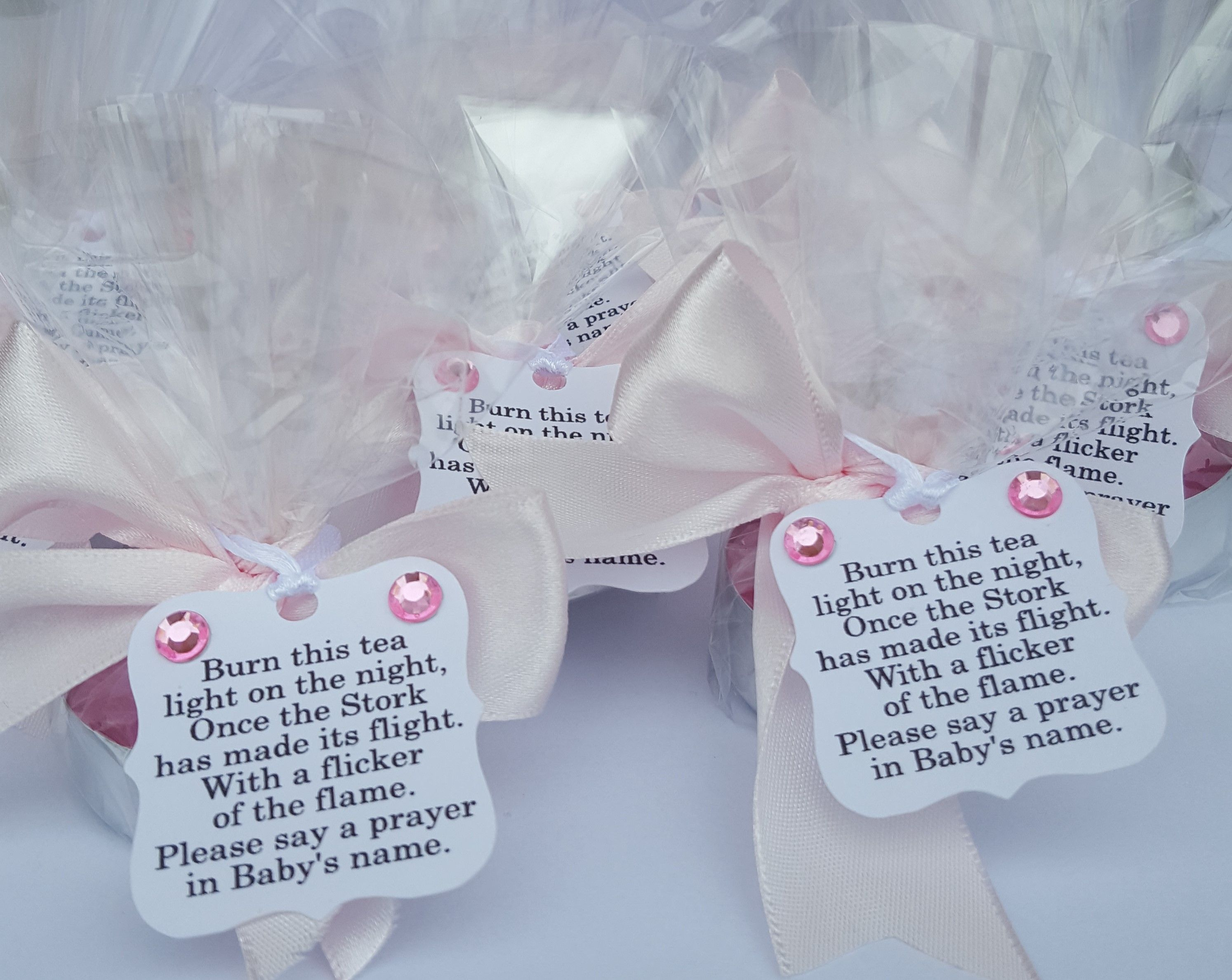 10 x BABY SHOWER TEALIGHT TAGS CHRISTENING PINK BLUE YELLOW FAVOUR GIFTS DIY