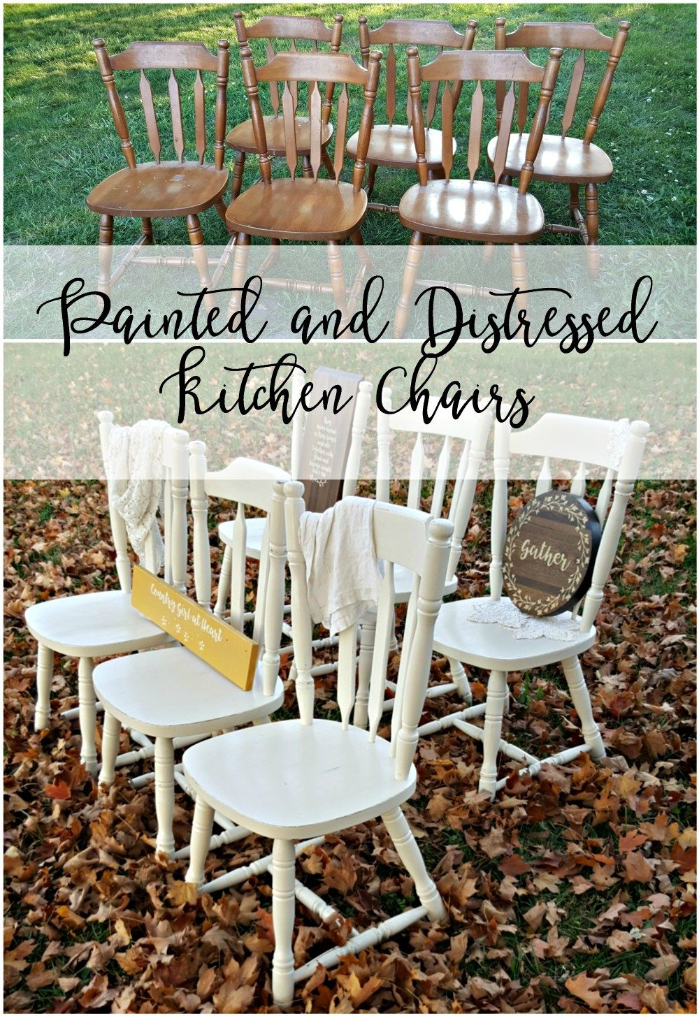 Painted and distressed kitchen chairs repurposing furniture ideas