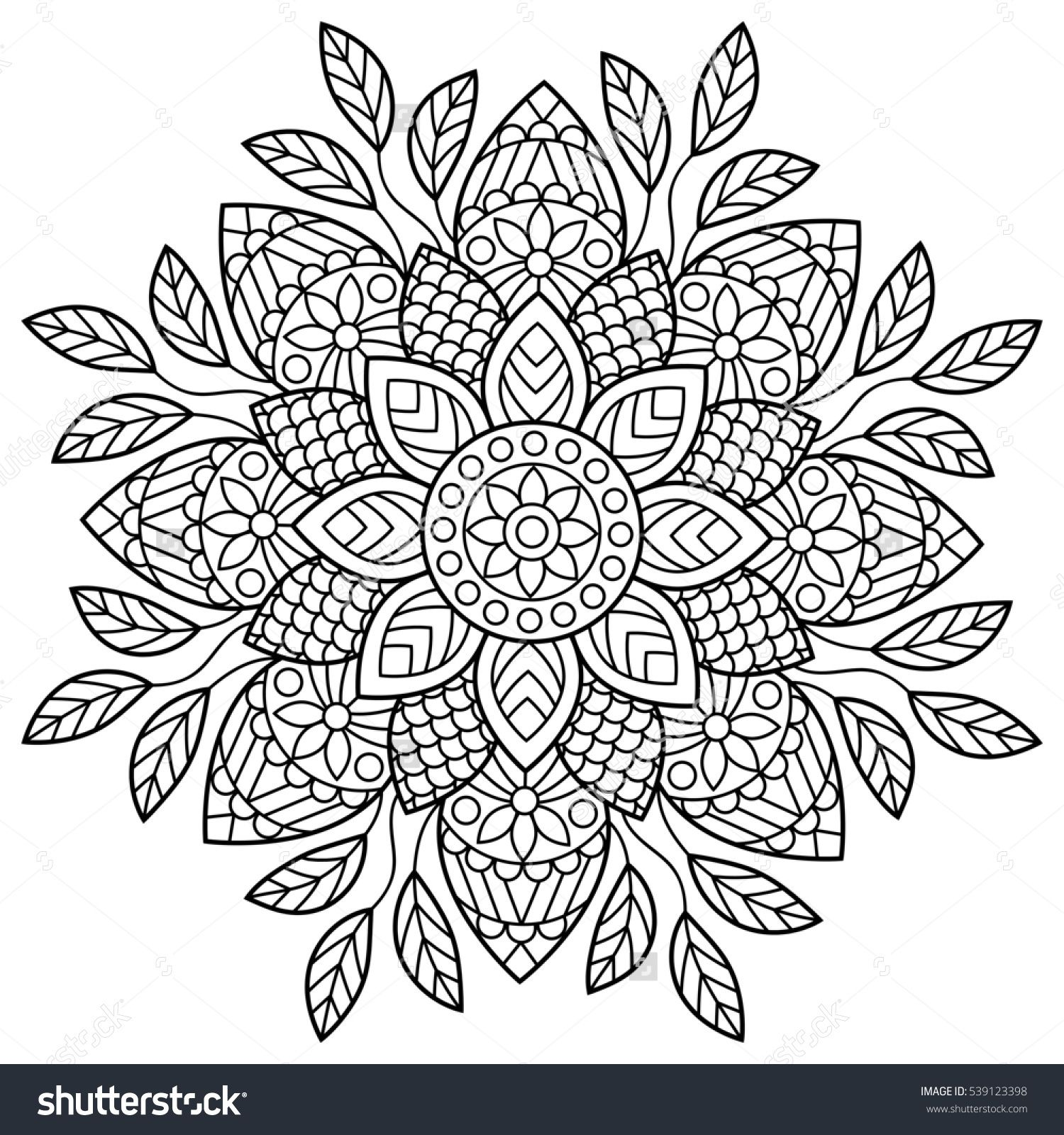 Mandala Coloring Book Pages Indian Antistress Medallion Abstract Islamic Flower Arabic Henna Design Yoga Symbol White Background Black Outline