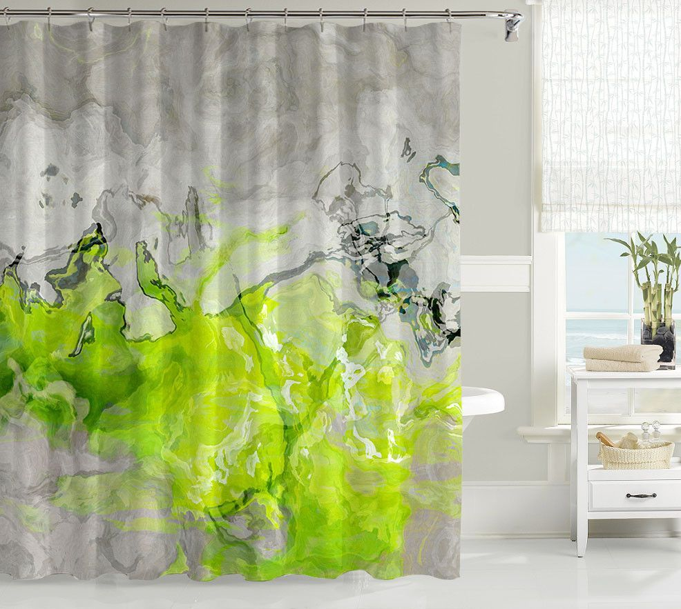 Contemporary Shower Curtain With Abstract Art Lime Green And Warm Gray Love