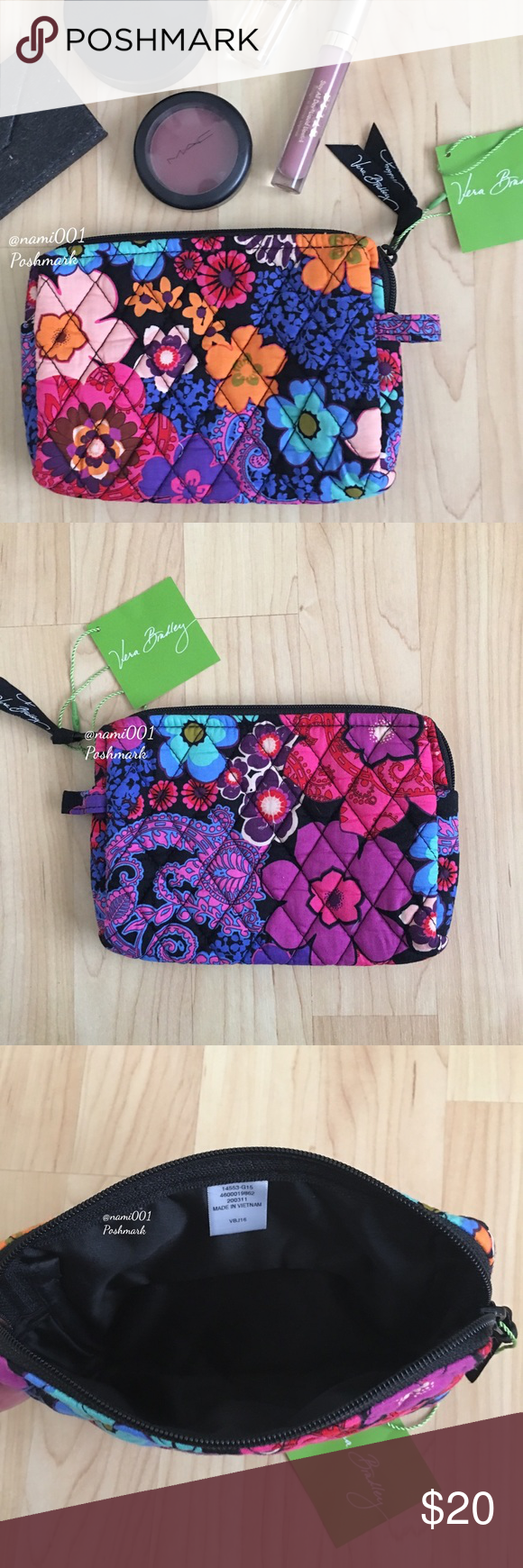 """Vera Bradley Floral Fiesta Small Makeup Bag Pouch Vintage inspired this medium sized makeup / cosmetic bag is perfect for the girl who likes to keep her handbag organized. Comes to you brand new with tags. Pretty and vibrant quilted fabric. Zip closure with Vera Bradley ribbon pull. Measures: 7"""" x 5.5"""". PRICE FIRM UNLESS BUNDLED. TRADES Vera Bradley Bags Cosmetic Bags & Cases"""