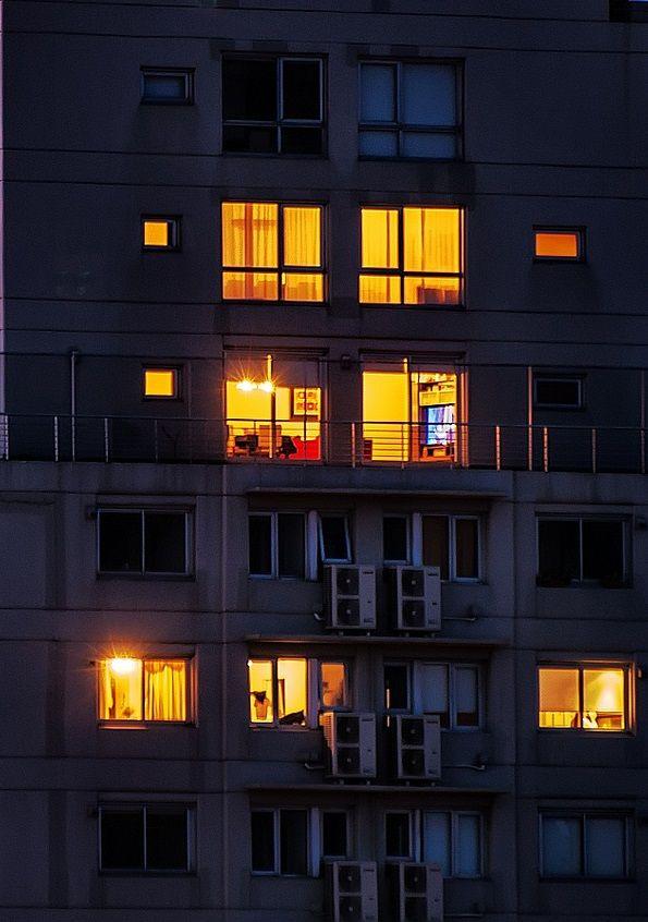Looking through night windows in a
