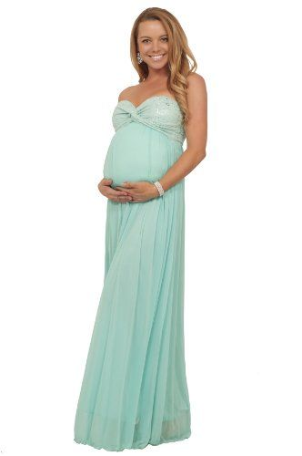 Maternity Metallic Strapless Twisted Empire Waist Special Occasion ...