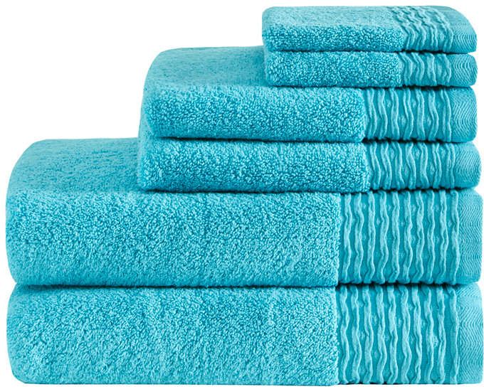 Madison Park Breeze 6 Pc Jacquard Wavy Border Zero Twist Towel Set