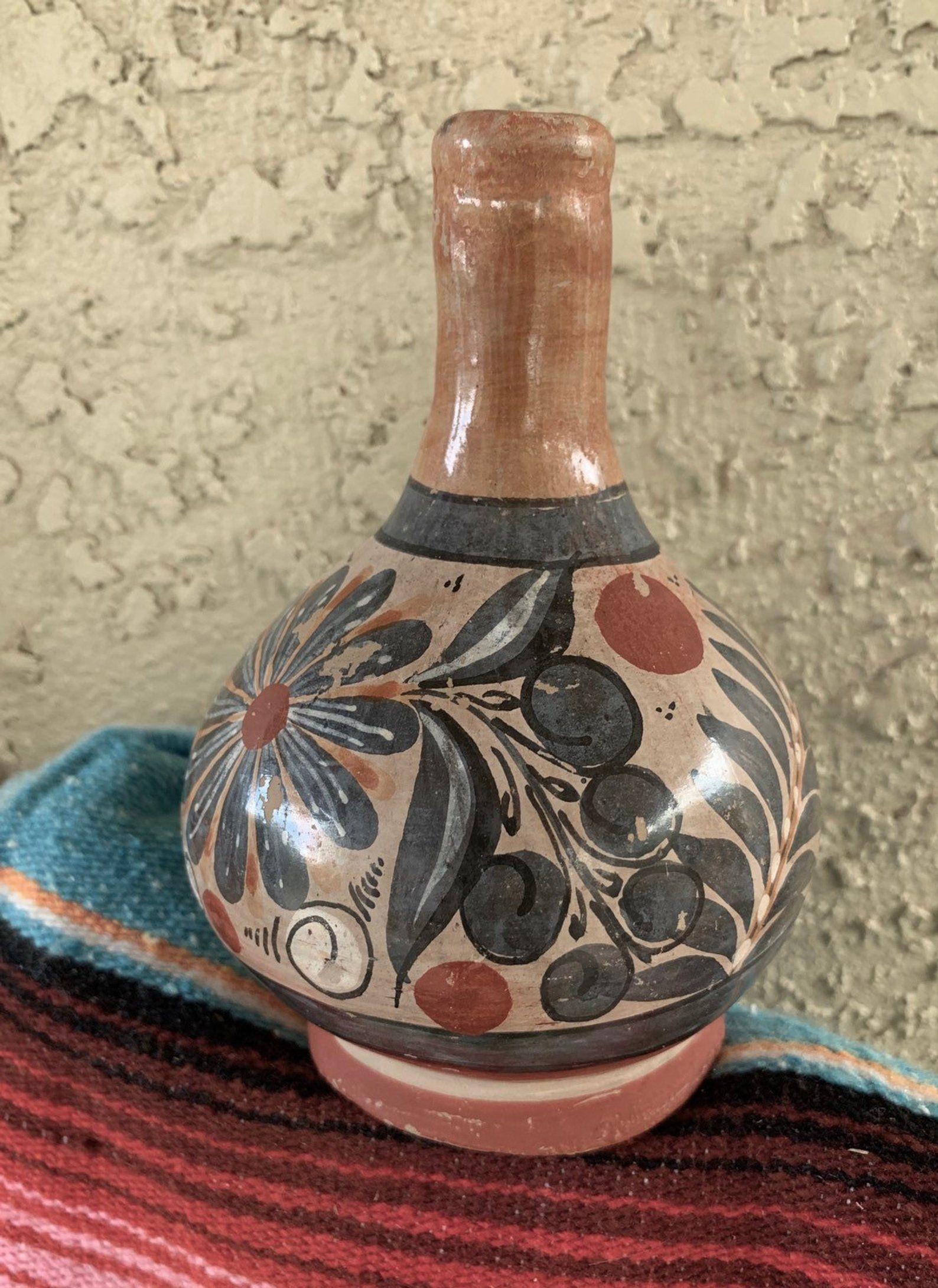 1980/'s Hand painted Pottery Artist Florentino Jimon Mexican Folk Art Jewelry box Vintage Tonala Pottery Box