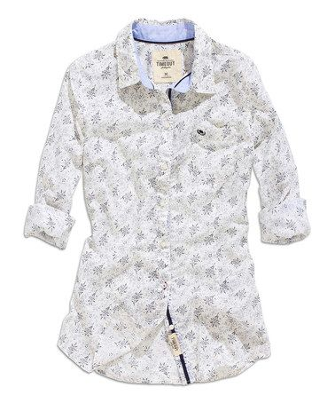 Another great find on #zulily! Navy & White Floral Dot Button-Up #zulilyfinds