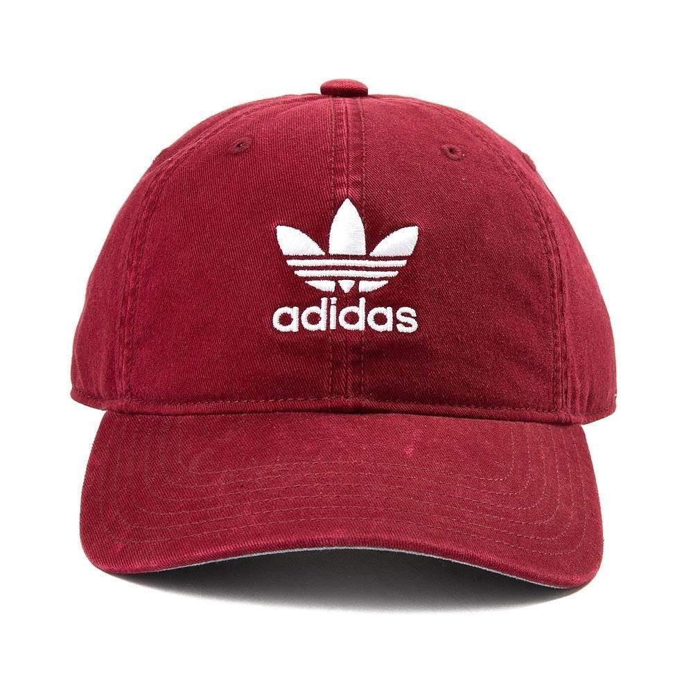 adidas Trefoil Relaxed Dad Hat - Burgundy - 38473 ad5dea80b02