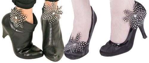 """Shoe Clips : SCL7 Guinea Hen Shoe Clip 3"""" Diameter 1 Pair Shop Feather: www.featherplace.com"""