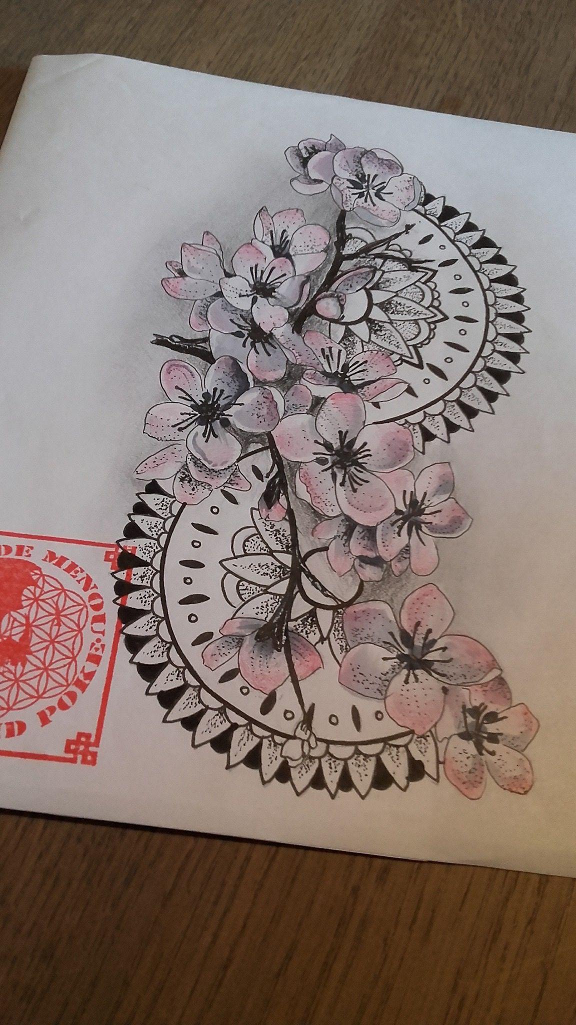 Fleur De Cerisier Et Mandala Tatoo Tattoos Tattoo Designs Et