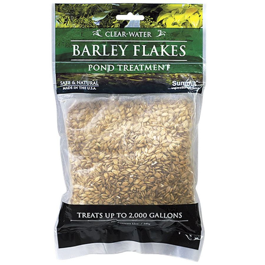 Barley Straw Flakes (WhateverWorks.com - $16): Barley straw is a natural filter to rid ponds of invasive algae (however, flakes work in about half the time of straw)... simply toss the nylon mesh bag of flakes into the pond... treats up to 2000 gallons (lasts approximately 3 months)... safe for aquatic plants (and provides natural food for fish)... (two or more bags $15 each)...