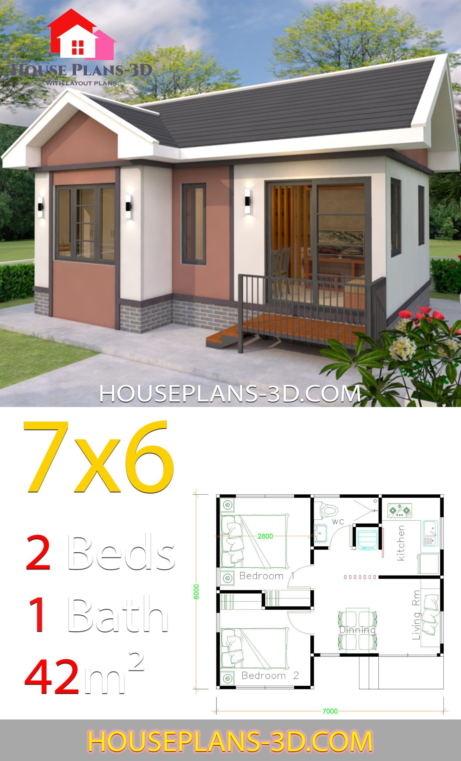 House Plans Design 7x6 With 2 Bedrooms Gable Roof In 2020 House