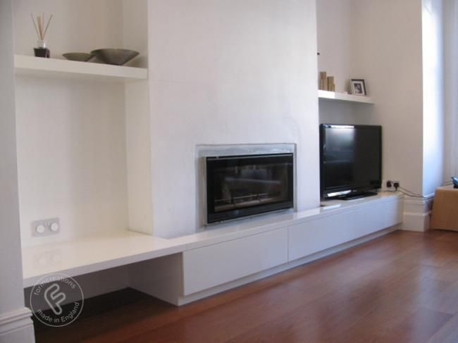 floating fireplace built in units lounge storage