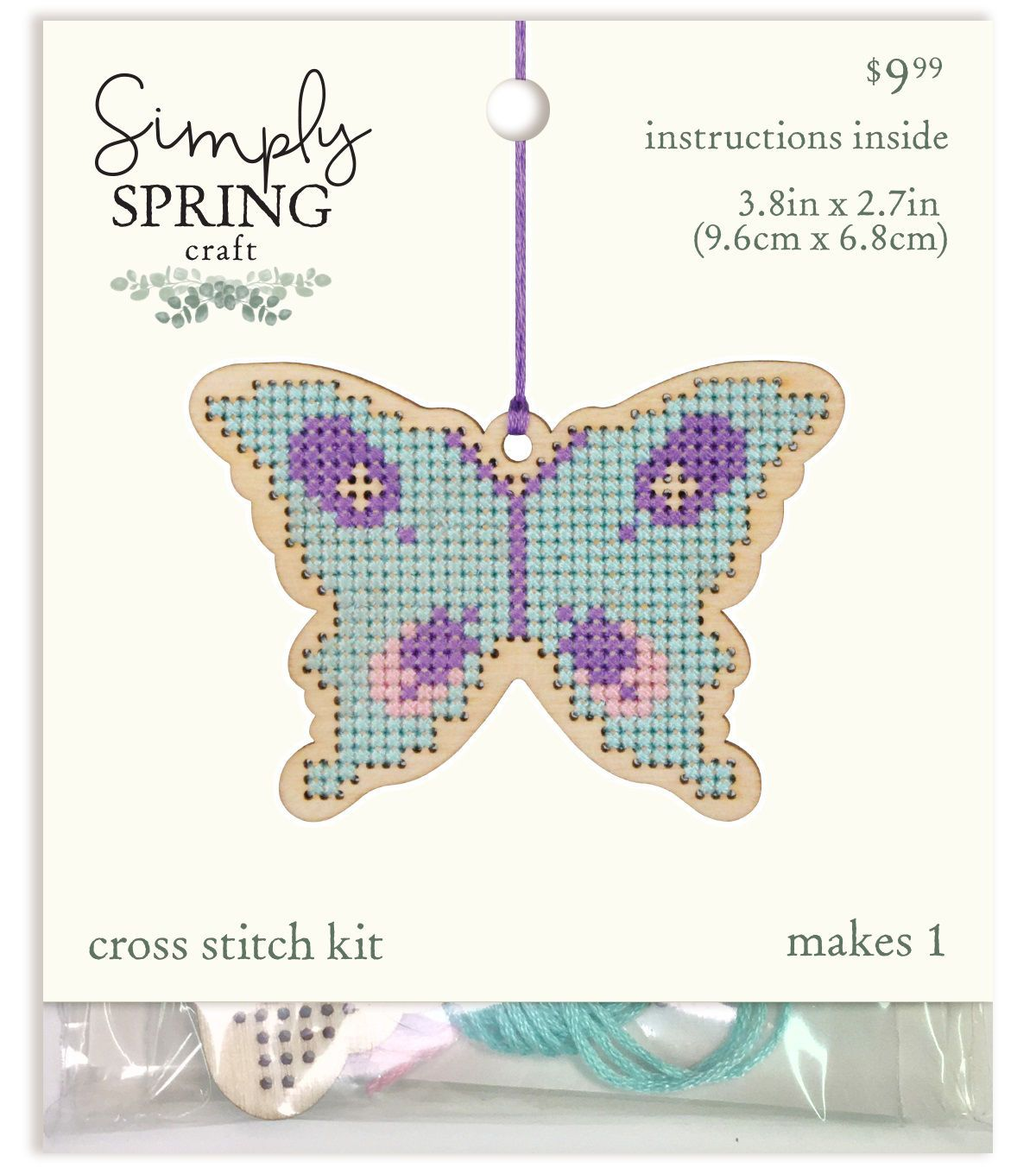 Simply Spring Craft Easter Wood Butterfly Cross Stitch Kit