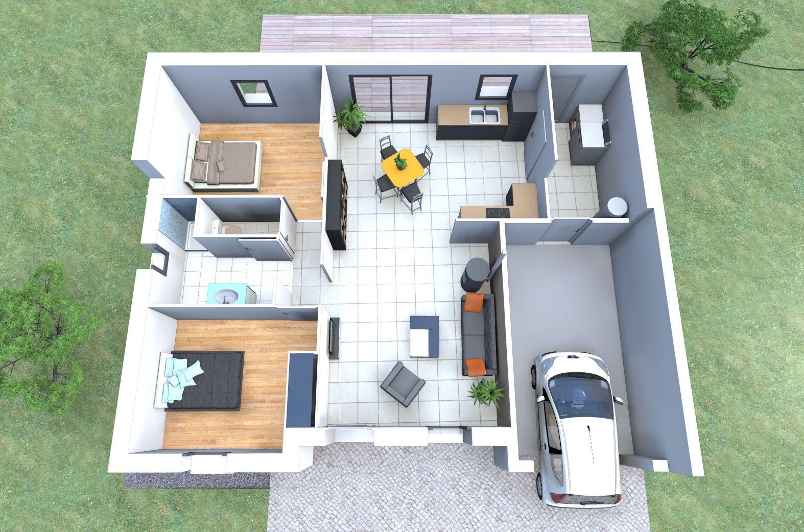 Le modèle de maison datis de alliance construction propose une version 2 chambres pour