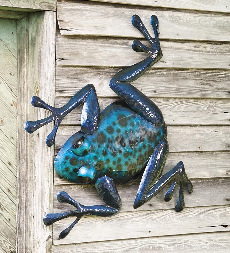 blue metal frog wall art is iridescent and 3d for an on metal wall art id=27211