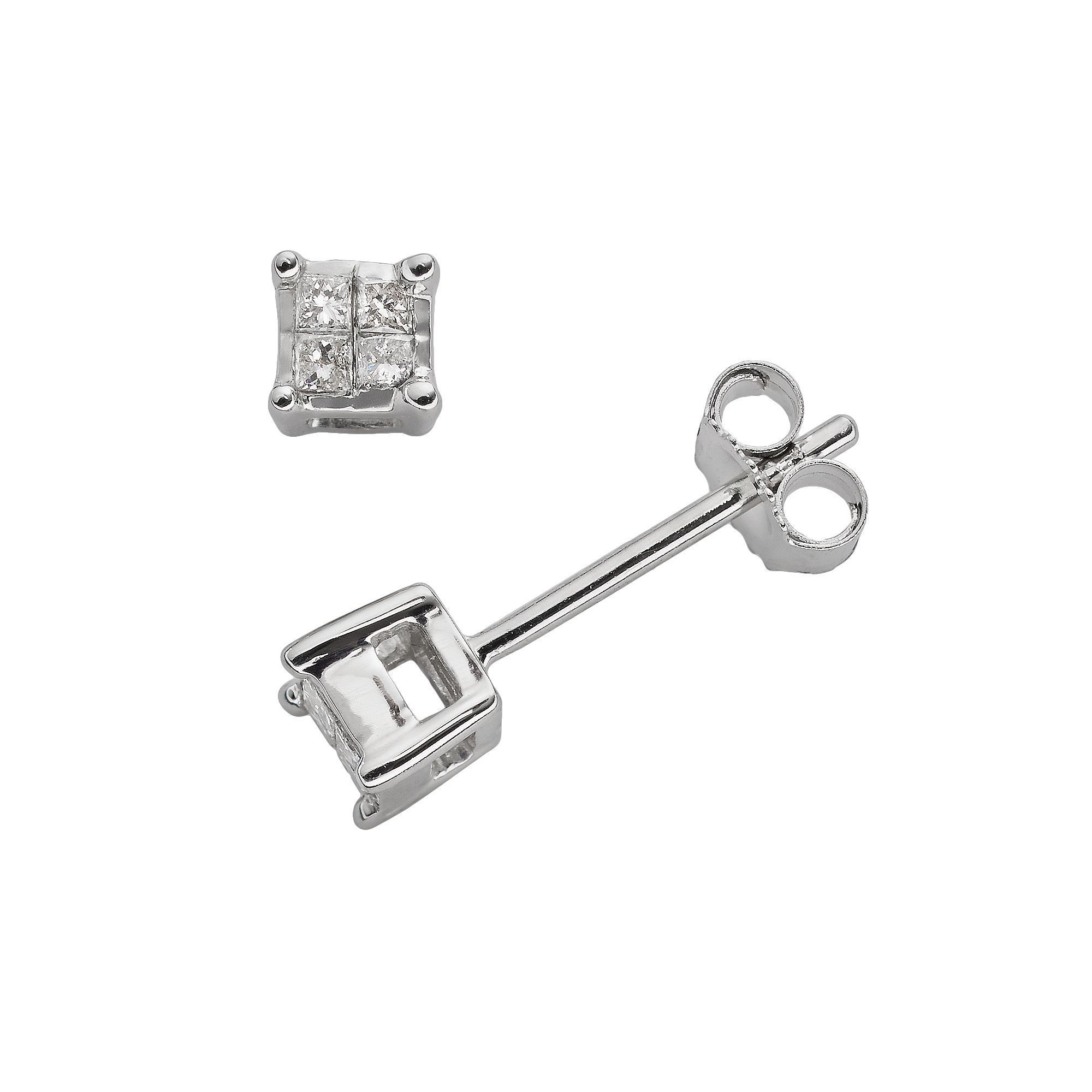 10k White Gold 1 10 Ct T W Diamond Stud Earrings Diamond Earrings Studs Diamond Studs White Gold Earrings Studs