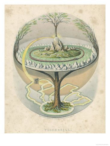 Yggdrasil the Sacred Ash the Tree of Life the Mundane Tree of Norse Mythology Giclee Print at AllPosters.com #norsemythology