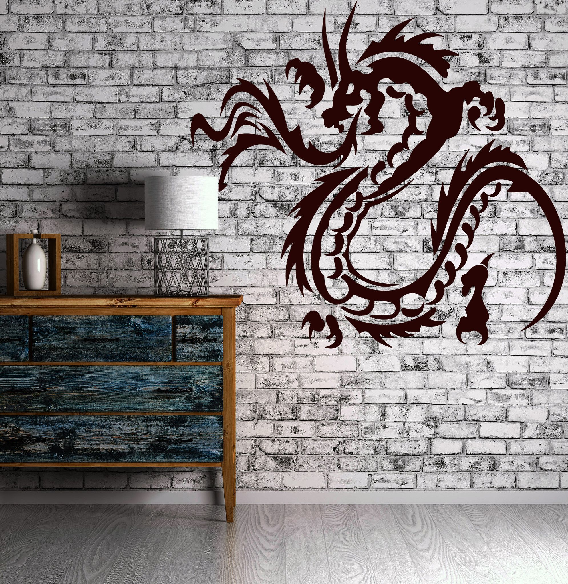 Decor Wall Sticker Vinyl Decal Flame Dragon Claws Horn Tail Body Gyrus (n033)