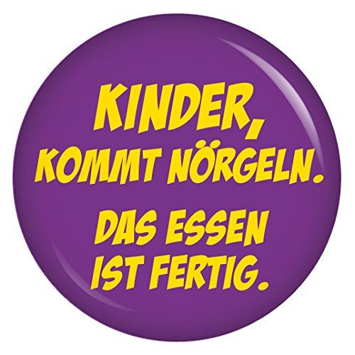 kiwikatze spr che kinder kommt n rgeln das essen ist fertig 37mm button pin. Black Bedroom Furniture Sets. Home Design Ideas