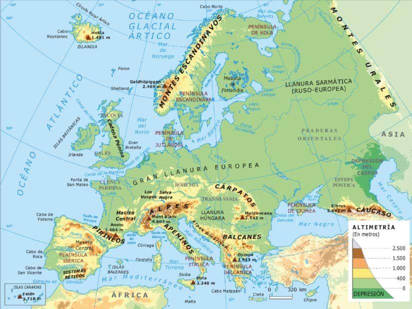 Mapa Físico De Europa.Mapa De Europa Fisico Y Politico Mapa Fisico De Europa