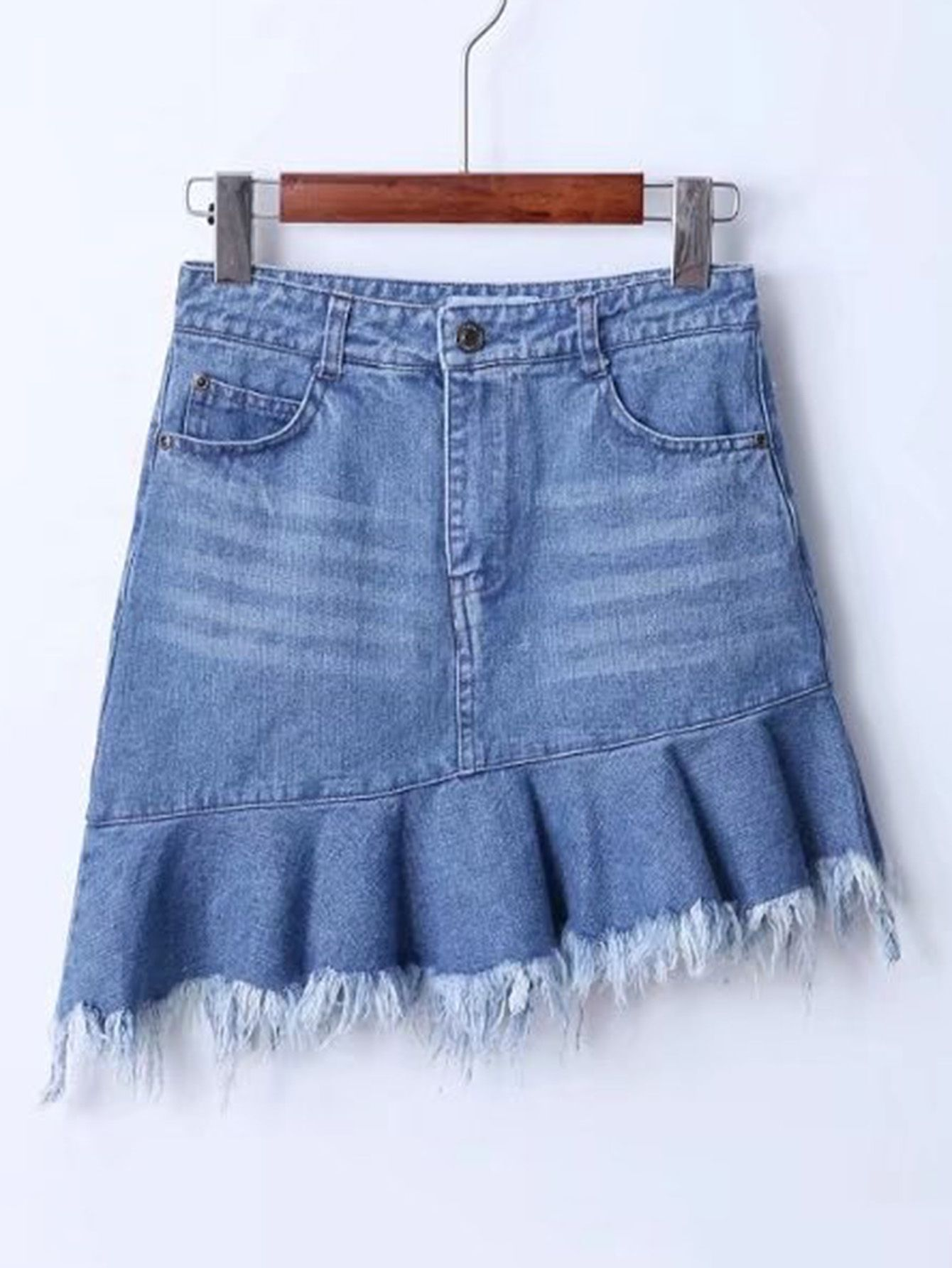 Raw Hem Asymmetrical Denim Skirt | Denim skirt and Denim skirts online