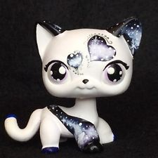 Black GALAXY  KITTY Cat Ooak Custom Littlest Pet Shop Cute Short Hair Nice!