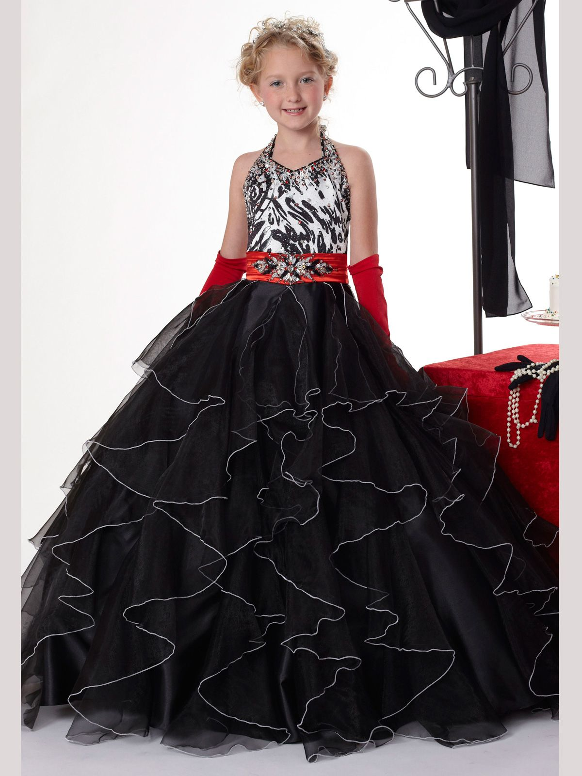Size blackwhitered in stock offzebra pageant dress for girls