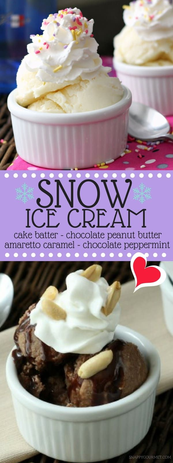 Cake Batter Snow Ice Cream Recipe - Snappy Gourmet #snowicecreamrecipe