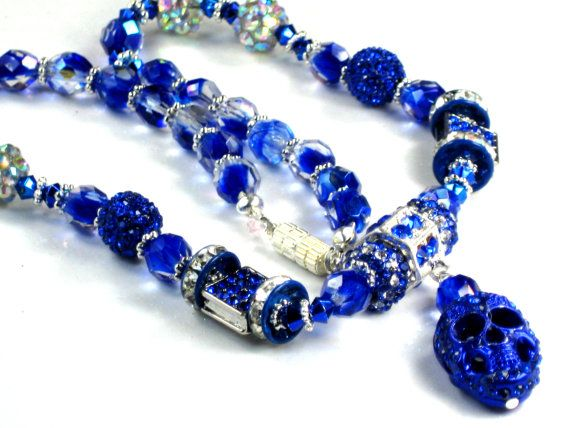 Royal Blue Skull Necklace Filigree Crystal Beads by PurseCharming7, $28.00