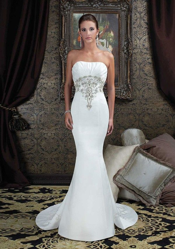 Fantastic White Strapless Crystal Embroidered Mermaid/Trumpet ...
