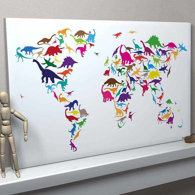 Dinosaur world map art print room bedrooms and kids rooms dinosaur world map art print gumiabroncs Image collections