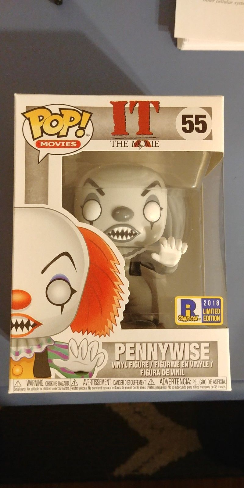 Black And White Pennywise Funko Pop Exclusive IT Rhode Island Comic Con RICC Film-, TV- & Video-Action- & -Spielfiguren