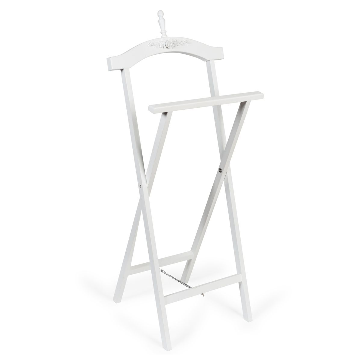 rosa wooden folding valet stand in white greencroft. Black Bedroom Furniture Sets. Home Design Ideas