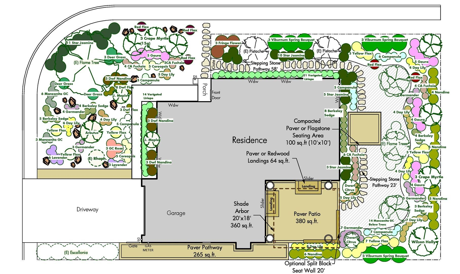 Very similar lot and house layout holy planting batman for Landscape house plan