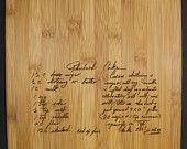 Vertical Recipe scanned from Mom's or Grandma's handwriting - Bamboo Cutting Board with Laser Engraved Recipe - Personalized  9.5 x 13