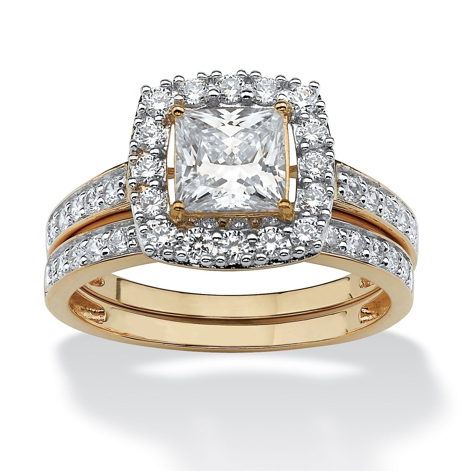 10K Yellow Gold Cubic Zirconia Halo Bridal Ring Set