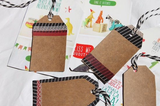 upcycled gift tags emballage cadeau wrapping paper diy pinterest cadeau emballage et noel. Black Bedroom Furniture Sets. Home Design Ideas