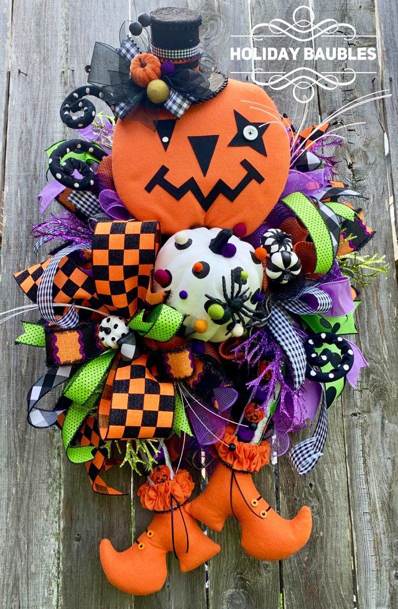 Whimsical Halloween Pumpkin Wreath