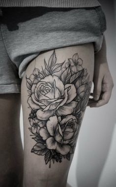 Cute Black Ink Rose Flowers Tattoo On Thigh Thigh Tattoos