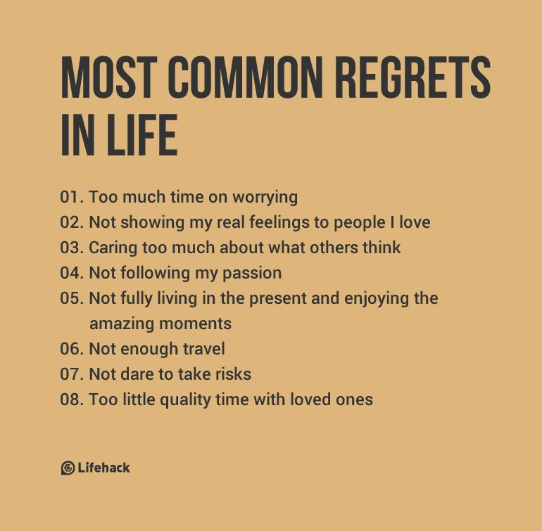 Most Common Regrets People Have In Life Infographics Life