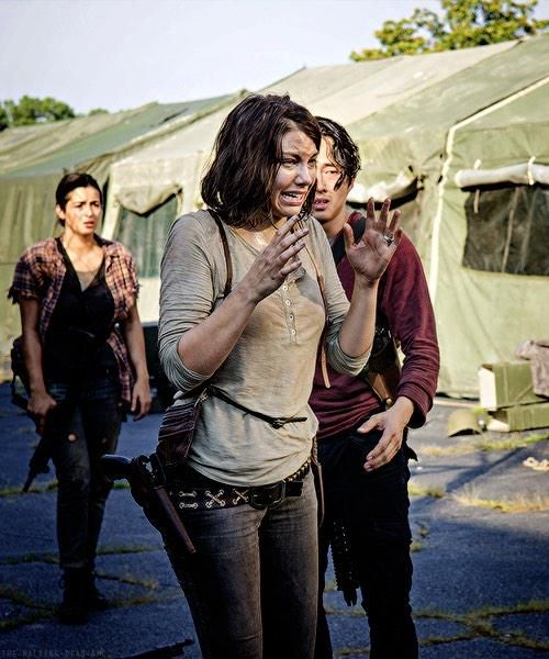 """Tara, Maggie & Glenn;  Season 5  """"Coda""""  Maggie sees Daryl carry Beth out. Maggie has now lost her entire family."""