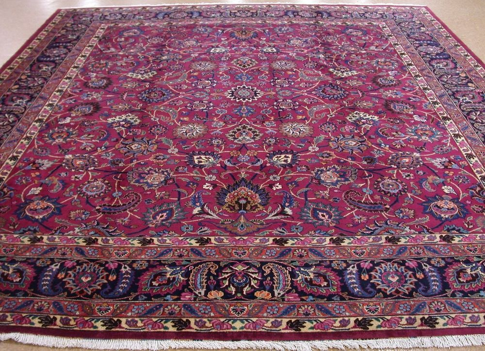Persian Mashad Hand Knotted Wool Magenta Red Navy Oriental Rug