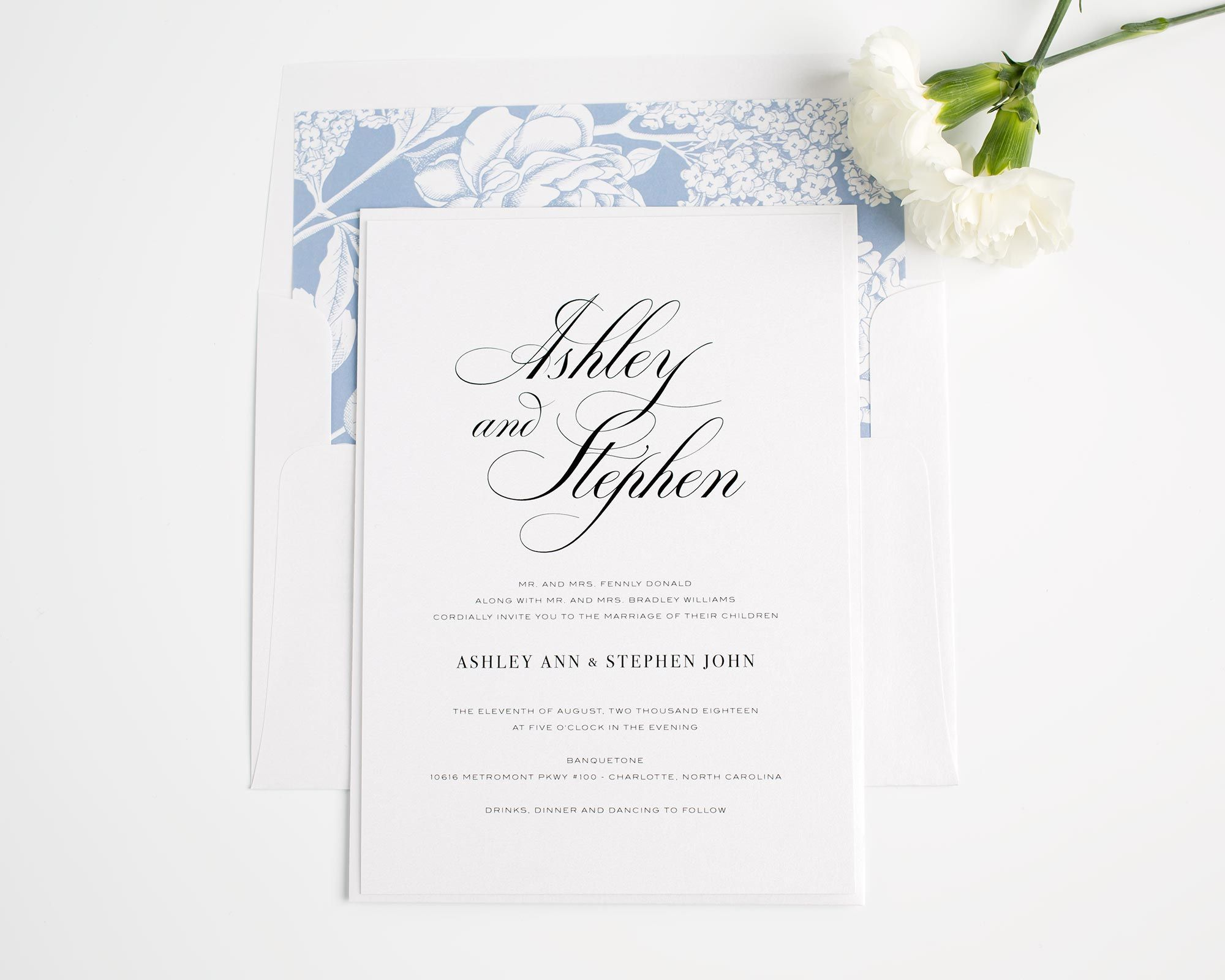 Timeless Calligraphy Wedding Invitations Belly Bands Hydrangea