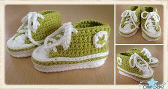 Anleitung: Baby Chucks häkeln   Crochet converse   Baby