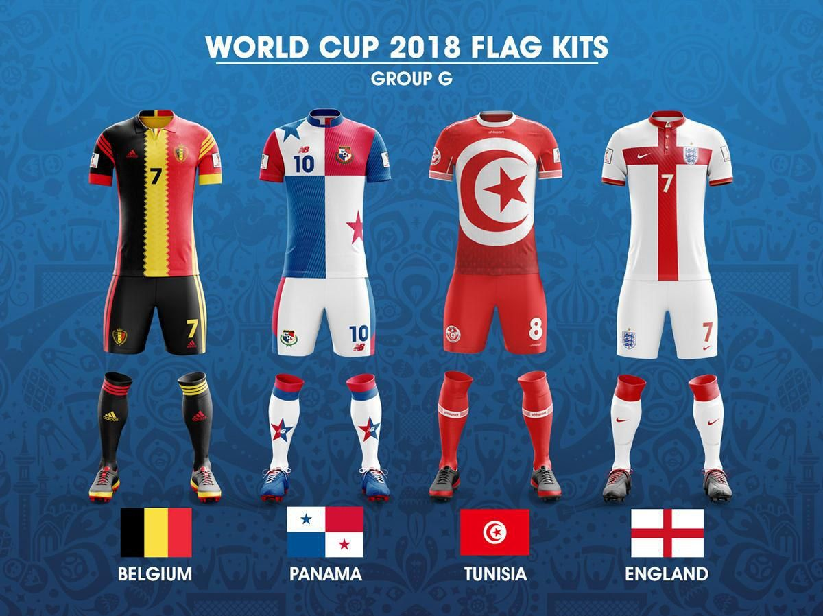2018 Fifa World Cup Russia Group G Concept Of Forms Based On National Flags Kit Worldcup2018 Worldcup Fifa World Cup Jerseys World Cup Jerseys World Cup